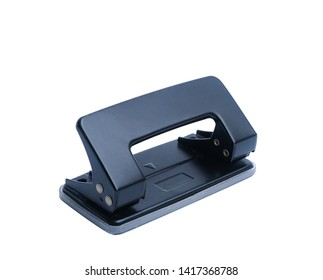 Black office paper hole puncher isolated on white background.