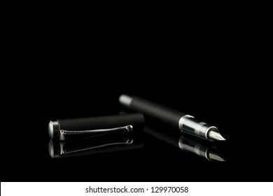 black office pen silhouette and reflection