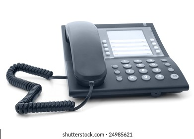 Black office phone with cord isolated on white background