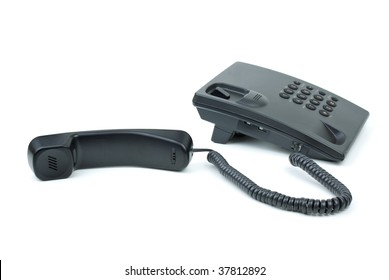 Black office phone with handset near isolated on white background