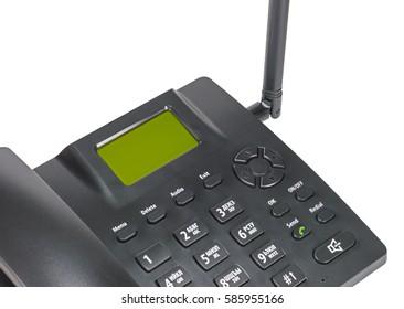 black office radiotelephone isolated on white background