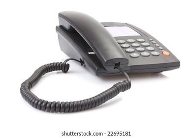 Black office telephone isolated on white background
