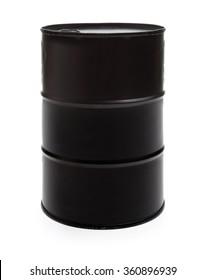 Black oil barrel isolated on white background