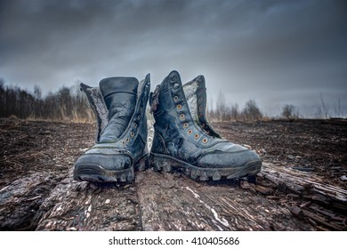 Black old Army Boots.