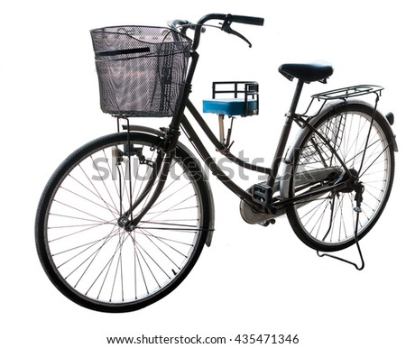 37698e1a51a Black old bicycle vintage . black cycling isolated on white, grunge old bike  on white background,close up and soft focus - Image