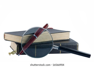 Black Old Books, Pen and Magnifying Glass