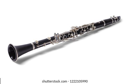 Black Old Clarinet Isolated on a White Background.