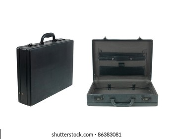 A black old fashioned business brief case