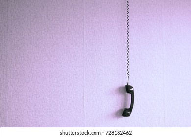 black old handset wire hang against stock photo edit now 727102882 Multiple Phone Jack Wiring black old handset with a wire hang against wallpaper texture black plastic telephone hanging by
