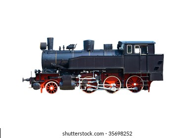 black old locomotive with red wheel
