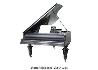 black old  piano isolated on white background