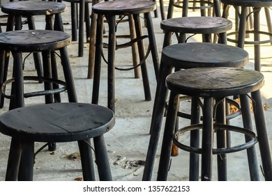 Black old round wooden chairs