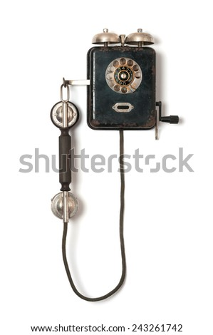 Black old wall telephone on white background