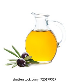 Black Olive, Green Leaves and Glass Bottle of Organic Olive Oil on White Background