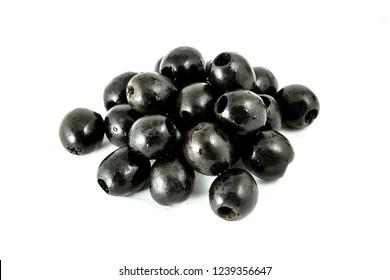 Black olives isolated on the white background