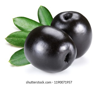 black olives with leaves isolated on white
