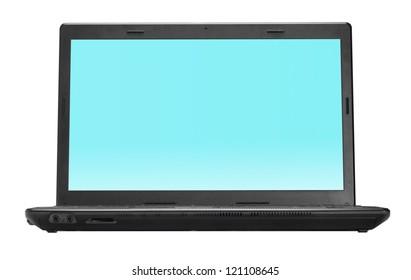Black open laptop isolated on white background