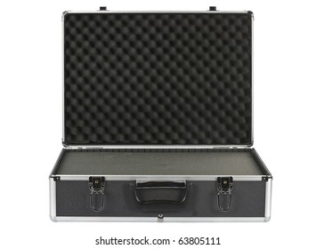 Black open padded aluminum briefcase isolated on white
