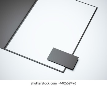 Black opened folder with blank white sheet and business card. 3d rendering