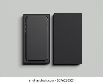 Black opened rectangular box with black mobile phone inside on light grey background, 3d rendering