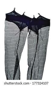 Black openwork stockings isolated on white background