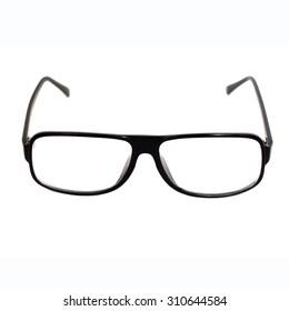 Black optical glasses on a white background