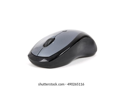 Black optical mouse with wireless on white background