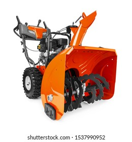Black and Orange Snow Blower or Snow Thrower Isolated on White Background. Garden Tool Powered by Gasoline Motor Side View. Patio Cleaning Equipment. Outdoor Power Equipment