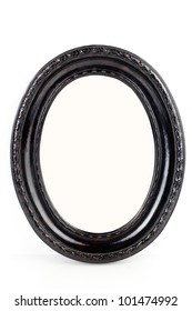 Black oval wooden frame isolated on white background