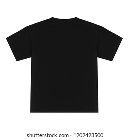 Black oversized short sleeve t-shirt, blank, layout, clipping, isolated on white background, ghost mannequin, back, mock-up
