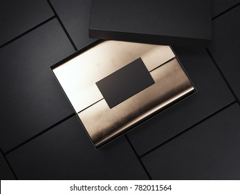 Black package with wrapping paper and blank card. 3d rendering