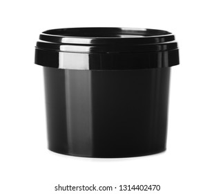 Black packaging clear cosmetic cream pot isolated on white background