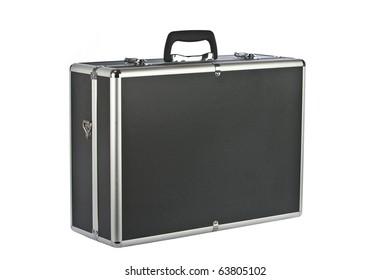 Black padded aluminum briefcase isolated on white