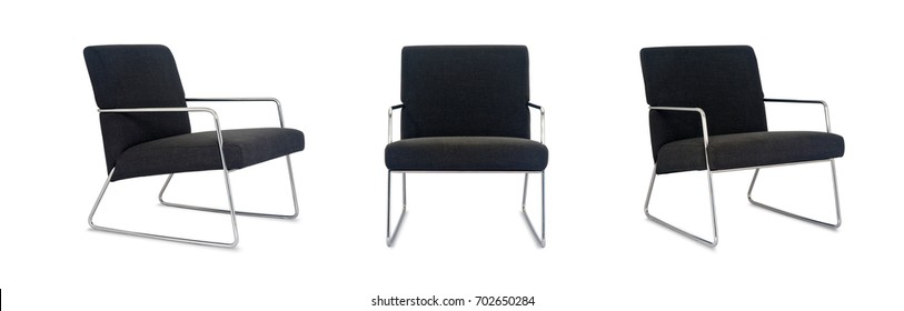 Black padded Chair on white background