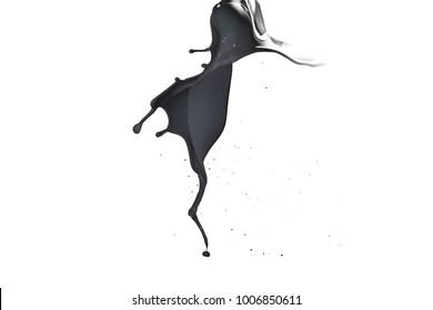 Black paint splash isolated on white background.