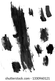 Black paint strokes isolated on a white background for making borders and brushes in Photoshop
