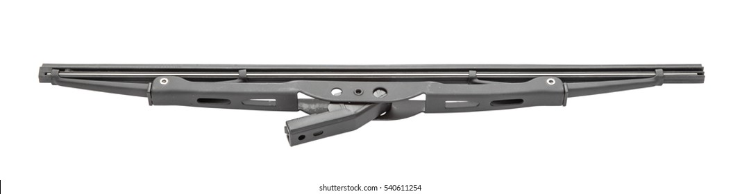 Black painted metal car or boat windshield wiper blade with bracket, bottom upper view, isolated on white