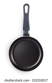 Black pan with handle isolated on white background