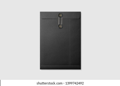 Black paper A4/C4 size String and Washer Envelope Mockup on light grey background. High resolution.