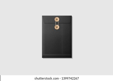 Black paper A5/C5 size String and Brown Washer Envelope Mockup on light grey background. High resolution.