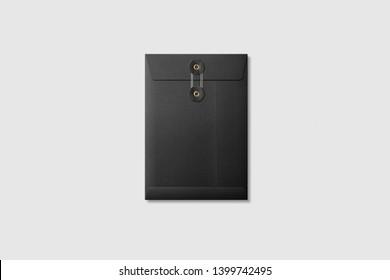 Black paper A5/C5 size String and Washer Envelope Mockup on light grey background. High resolution.