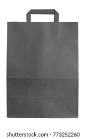 Black paper bag with handle isolated on white background