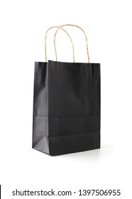 Black paper bag Isolated on white background.