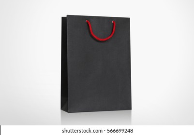 Black Paper Bag Template with handle rope, Isolated