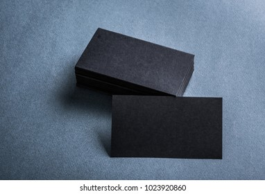 Black business card images stock photos vectors shutterstock black paper business card template on grey background blank name card for text space reheart Image collections