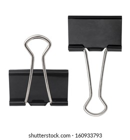 black paper clip isolated on white