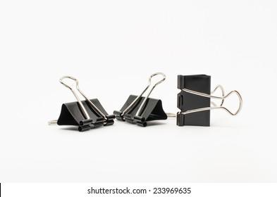 Black Paper clip on white background