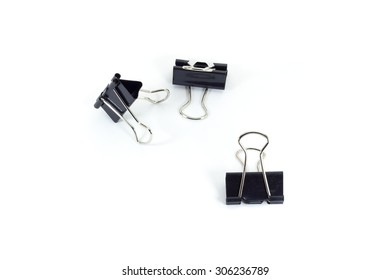 black paper clips on white isolate background