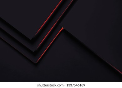 Black paper concept background with red shadow and copy space. Dark geometric layer design with sheets of paper. Flat lay