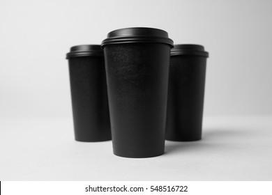 Black paper cups mockup